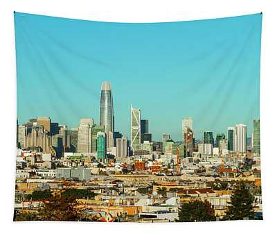 San Francisco Financial District From Dolores Park Tapestry