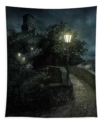 Tapestry featuring the photograph San Marino At Night by Jaroslaw Blaminsky