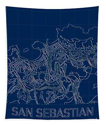San Sebastian Blueprint City Map Tapestry
