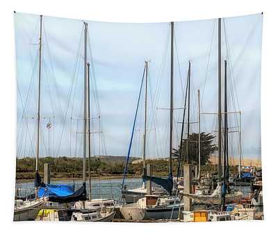 Sand Dune And Sail Boats Tapestry