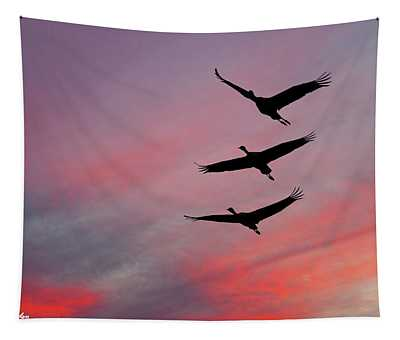 Sandhill Cranes At Sunset Tapestry