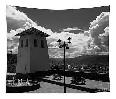 Santa Ana Church Tower In Monochrome Cusco Peru Tapestry