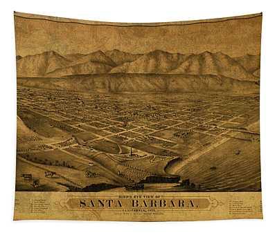 Santa Barbara California Vintage City Street Map 1875 Tapestry