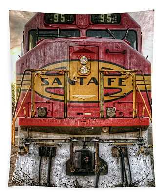 Santa Fe Train Engine Tapestry