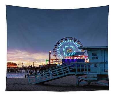 Santa Monica Lifeguard Tower 16 Tapestry
