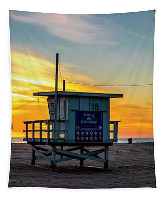 Santa Monica Lifeguard Tower 18 #2 Tapestry
