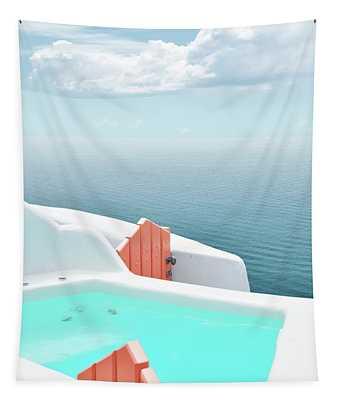 Santorini Pool Tapestry