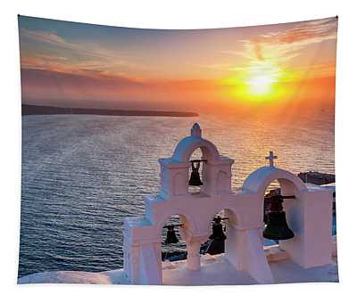 Santorini Sunset Tapestry