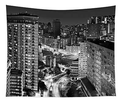 Sao Paulo Downtown By Night Tapestry