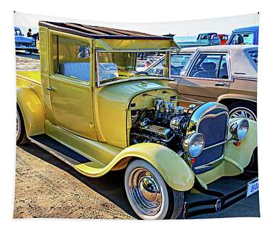 Sauble Sunset Cruisers - Yellow Ford Hotrod Tapestry