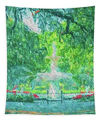 Savannah Fountain In Forsyth Tapestry