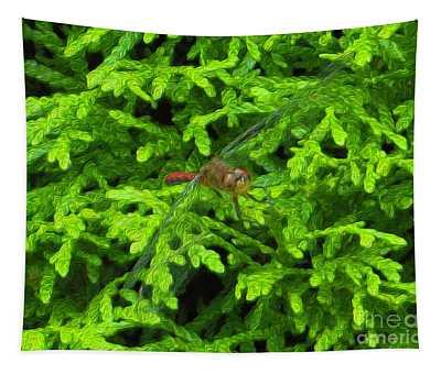 Scarlet Darter Male Dragonfly Tapestry