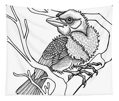 Tapestry featuring the drawing Scarlet Tanager by Amy E Fraser