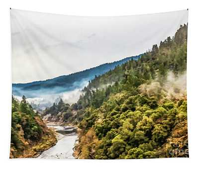 Scenic View On A Misty Morning On The River Tapestry