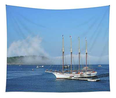 Schooner At Bar Harbor Dock  Tapestry