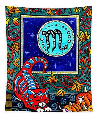 Scorpio Cat Zodiac Tapestry