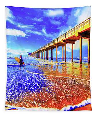 Scripps Surfer Retro Vertical Tapestry