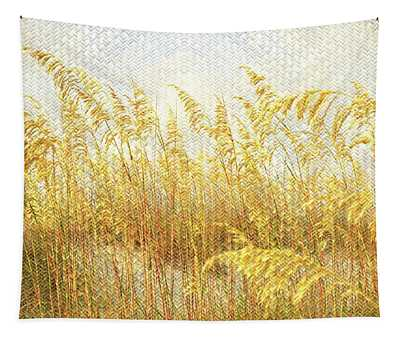 Sea Grasses On Woven Flax Tapestry