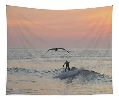 Seagull And A Surfer Tapestry