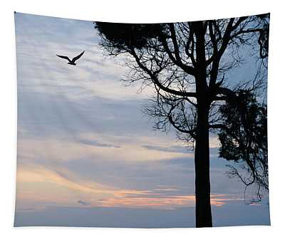Seagull Sunset At Catawba Tapestry