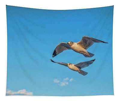 Seagulls In Flight 3 Tapestry