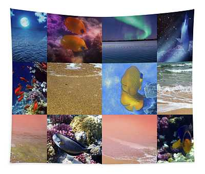 Sealife And Seashore Collage Tapestry