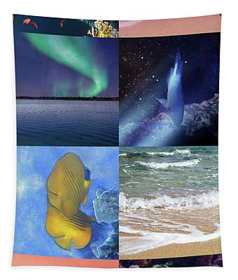 Sealife And Seashore Tall Collage Tapestry