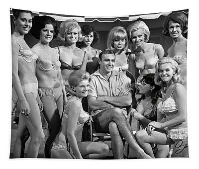 Sean Connery And Girls Tapestry