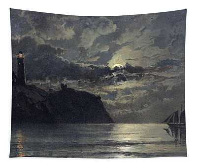 Seascape With Lighthouse Tapestry