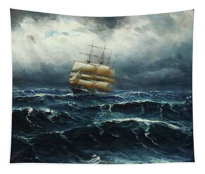 Seascape With Sailing Boat In Rough Sea Tapestry