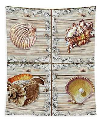 Seashells Beach House Rustic Chic Collection I Tapestry