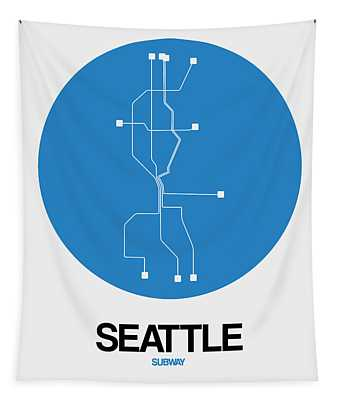 Seattle Blue Subway Map Tapestry