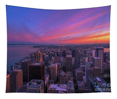 Seattle Cityscape Sunrise From Above Tapestry