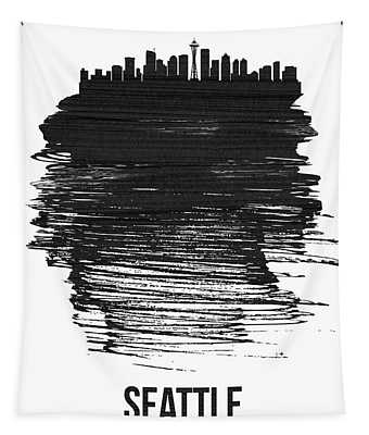 Seattle Skyline Brush Stroke Black Tapestry