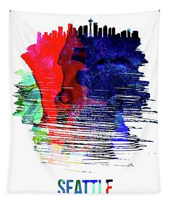 Seattle Skyline Brush Stroke Watercolor   Tapestry
