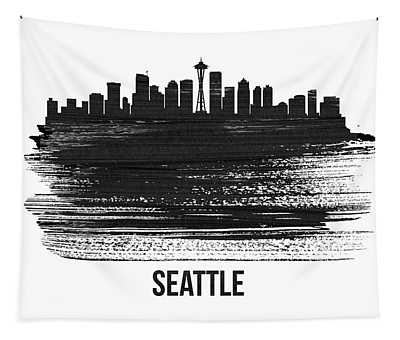Seattle Skyline Brush Stroke White Tapestry