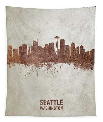 Seattle Washington Rust Skyline Tapestry