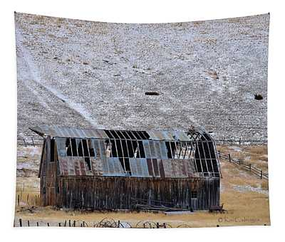 See Through Dilapidated Barn Tapestry