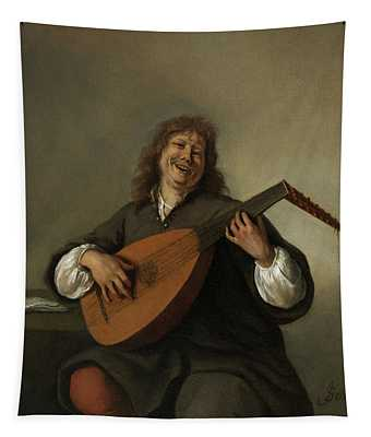 Self-portrait With A Lute Sense Of Hearing Tapestry