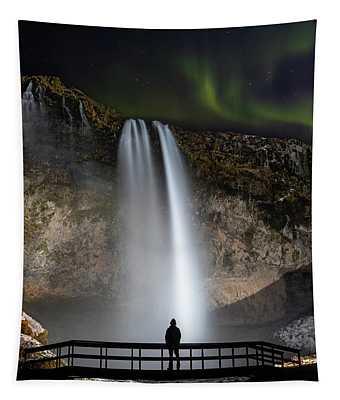 Seljalandsfoss Northern Lights Silhouette Tapestry