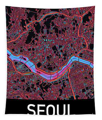Seoul City Map Tapestry