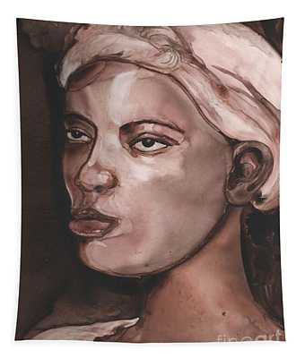 Sepia Woman Tapestry