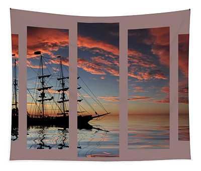 Set 22 - Pirate Ship At Sunset Tapestry