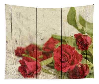 Shabby Chic Bright Red Roses On Wood Tapestry