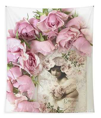 Shabby Chic Pink Roses Victorian Vintage French Parisian Girl - Romantic Roses Flowers Tapestry