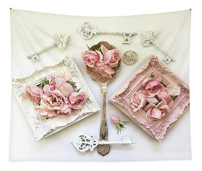 Shabby Chic Pink White Cottage Vintage Spoon Art - Pink Roses White Keys Spoon Frames Decor Tapestry