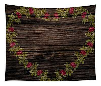 Shabby Chic Red Roses Heart On Wood Tapestry