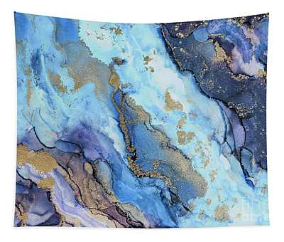 Shades Of Blue And Gold Tapestry