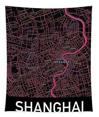 Shanghai City Map Tapestry