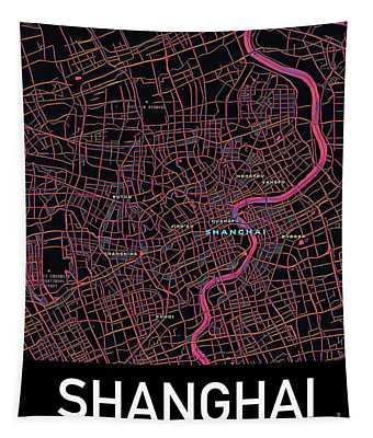 Shanghai City Map Tapestry